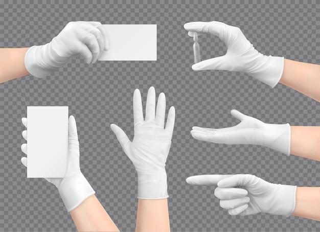 Hände mit handschuhen in verschiedenen posen