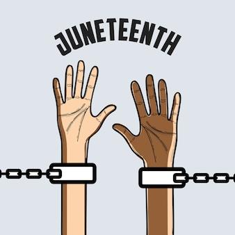 Hände mit kette, um freiheit zu feiern