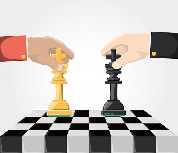 Hände mit könig schachfiguren an bord