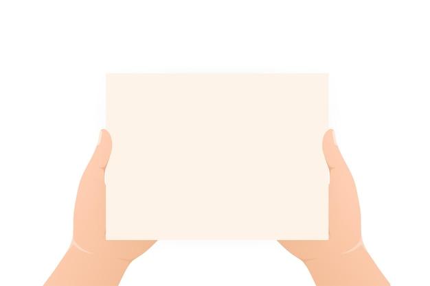 Hände mit leerem plakat flacher charakter poster-banner-design weibliche hand spielzeichen