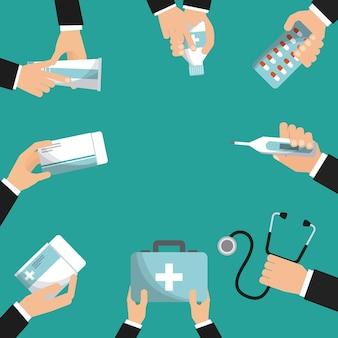 Hände mit medizin ausrüstung der ersten hilfe