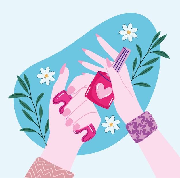 Hände mit nagelmaniküre