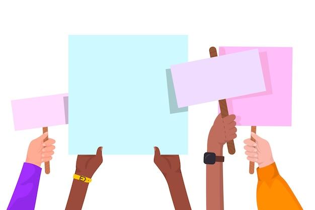 Hände mit plakaten Kostenlosen Vektoren