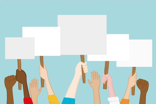 Hände mit plakaten