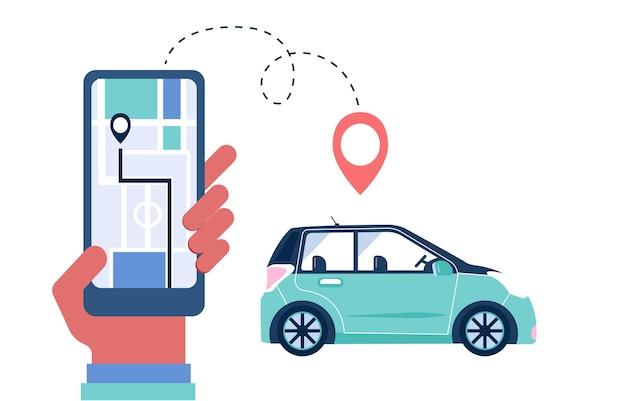 Hände mit smartphone-app für carsharing und mietservice. großer bildschirm für online-carsharing- und fahrgemeinschaftsreisen mit routen- und punkteposition auf einem stadtplan. transportvektorkonzept