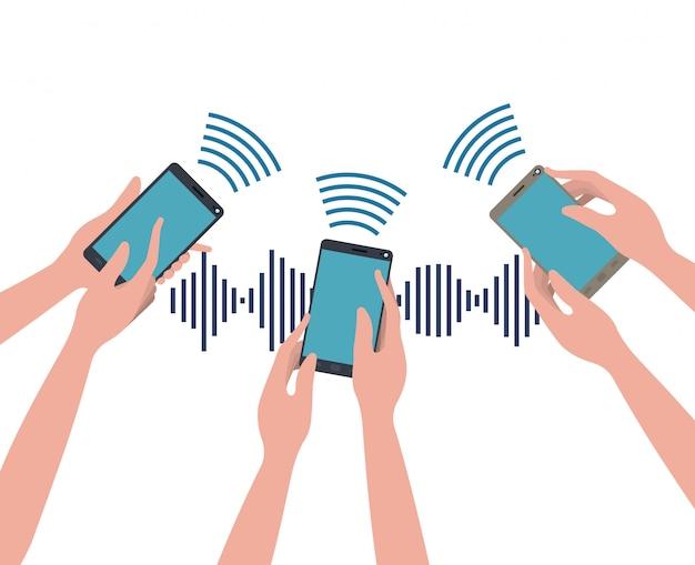 Hände mit smartphone und schallwelle
