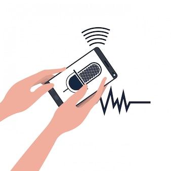 Hände mit smartphone und sprachassistent