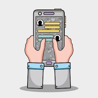 Hände mit smartphone whatsapp chat-nachricht