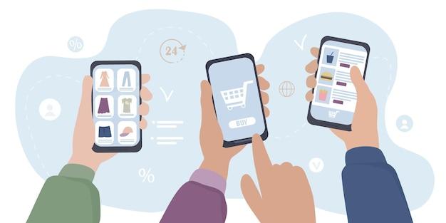 Hände mit smartphones kaufen online ein