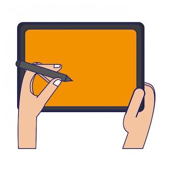 Hände mit stift auf tablet-technologie-symbol