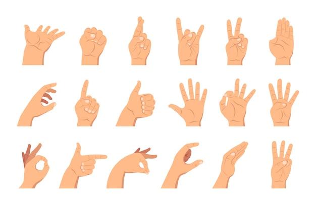 Hände mit verschiedenen gesten gesetzt, emotionen mit den fingern zeigen und eine karte und einen stift halten