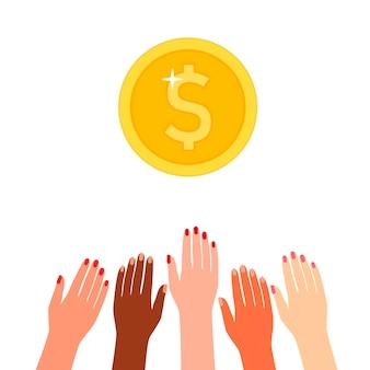 Hände multikulturelle menschen, die sich auf geld konzentrieren, belohnen geld