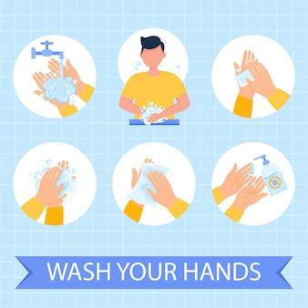 Hände richtig waschen infographicvektorillustration