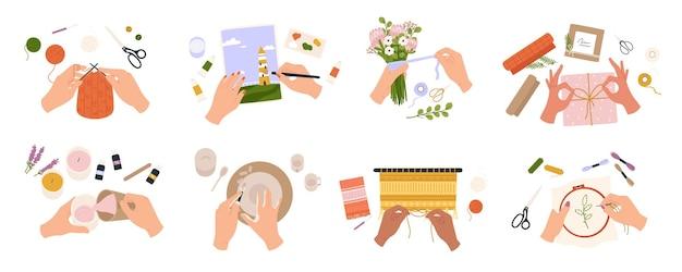 Hände schaffen kunsthandwerk. handgemachte hobbys, kreatives arbeiten und kunst. menschen stricken, zeichnen, sticken, machen kerzen und blumensträuße, vektorset mit draufsicht. kreative arbeit der illustration, handgemachte kunst
