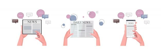 Hände setzen mit l gadgets, die tägliche nachrichten lesen online-zeitung presse massenmedien chat blase kommunikation