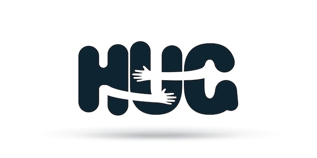 Hände umarmt wort hug illustration