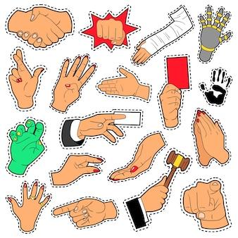 Hände und arme mit verschiedenen zeichen für sammelalbum, drucke und aufkleber. vektor gekritzel