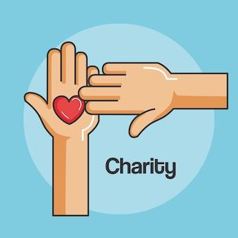 Hände und herzikone der freundlichkeit und der nächstenliebe