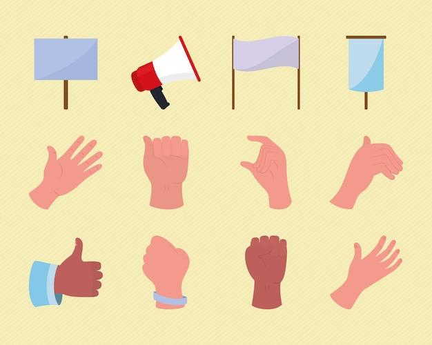 Hände und protest
