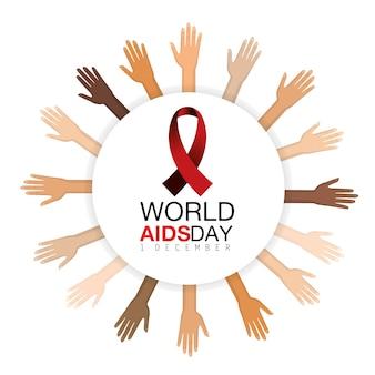 Hände und rotes band unterstützen die präventionskampagne