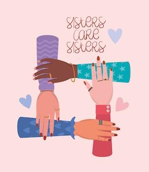 Hände und schwestern kümmern sich um schwestern der frauenermächtigung. feministische konzeptillustration der weiblichen macht
