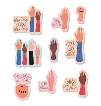 Hände und texte aufkleber satz von frauen empowerment. feministisches konzept der weiblichen macht