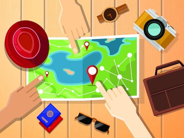 Hände von den reisenden, die auf karte für planungsreise zeigen.