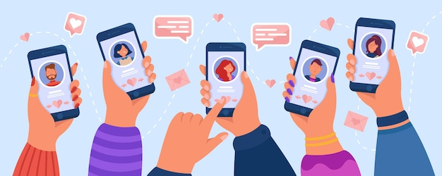 Hände von erwachsenen menschen, die dating-app verwenden. flache abbildung