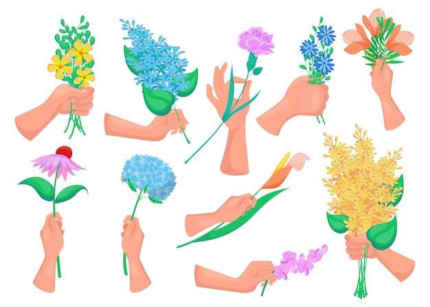 Hände von frauen, die frühlingsblumen, zweige mit blüten halten, blühende blumensträuße lokalisiert auf weiß
