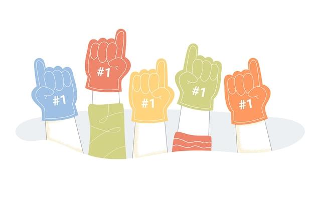 Hände von leuten, die nummer eins fächerschaumfinger tragen