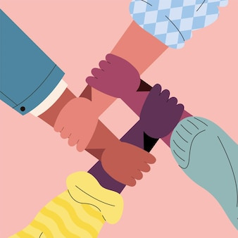 Hände von menschen unterschiedlicher rassen