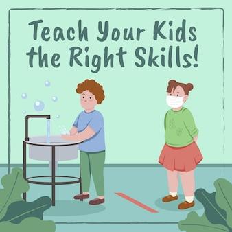 Hände waschen. bringen sie ihren kindern die richtigen fähigkeiten bei.