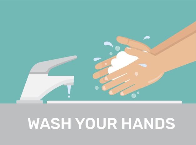 Hände waschen mann, der seife in der hand unter wasserhahn hält