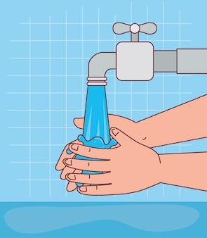 Hände waschen mit wasserhahn design, hygiene waschen gesundheit und sauber