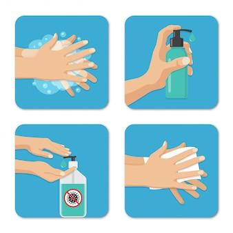 Hände waschen und desinfektion hintergründe in einem flachen design gesetzt. vorbeugende maßnahmen gegen coronavirus