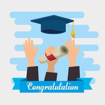 Hände werfen hüte graduierung