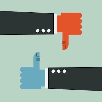 Hände zur genehmigung oder ablehnung