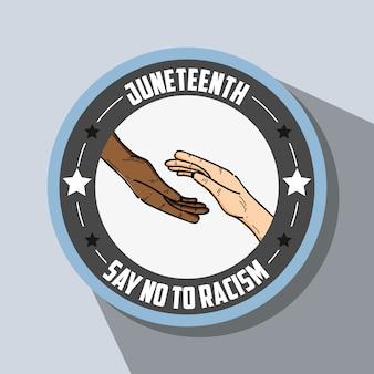 Hände zusammen emblem mit keine rassismus-massage