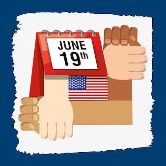 Hände zusammen mit dem kalender und flagge, die freiheit feiern