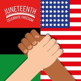 Hände zusammen mit den flaggen, die freiheit feiern
