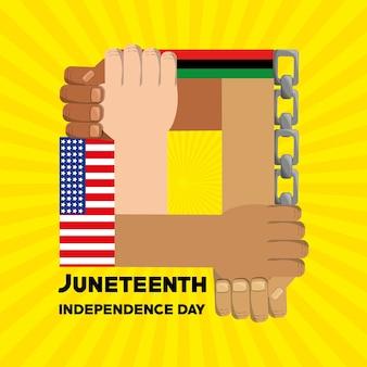 Hände zusammen mit kette und flagge zum unabhängigkeitstag