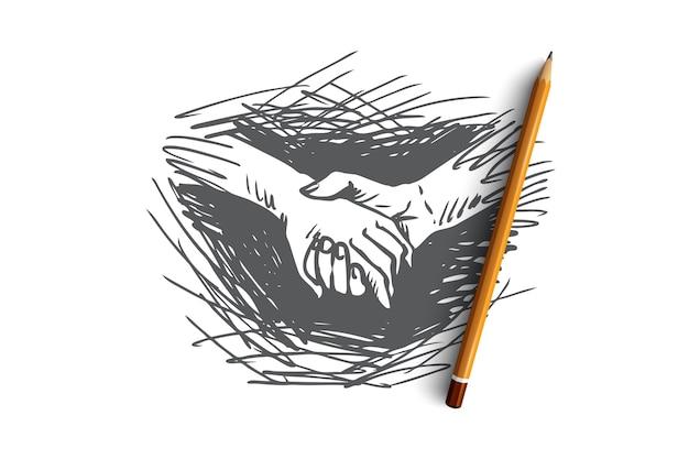 Hände, zusammenhalten, freundschaft, partnerschaftskonzept. hand gezeichnet hält eine person hand einer anderen konzeptskizze.
