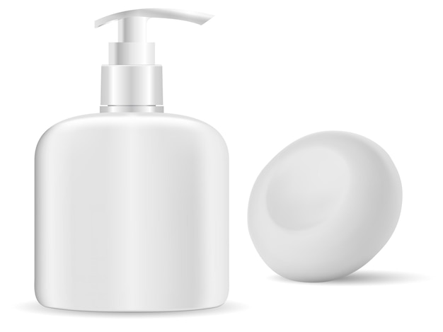 Händedesinfektionsflasche. seifenabgabe, flüssiger gelbehälter. feste seife, isolierte 3d-illustration.