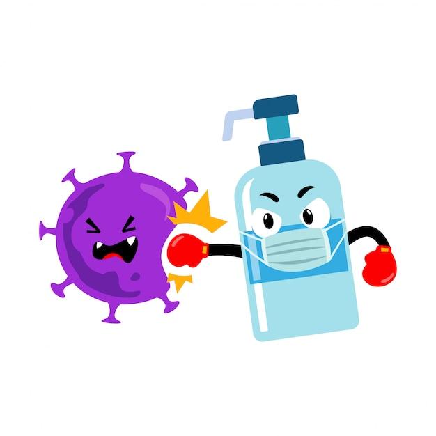 Händedesinfektionsmaskottchencharakter gegen coronavirus