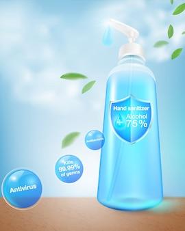Händedesinfektionsmittel-alkoholpaket 75% alkoholbestandteil, tötet bis zu 99,99% coronavirus, covid 19, bakterien und keime ab. verpackt in einer durchsichtigen plastikflasche. realistische datei.