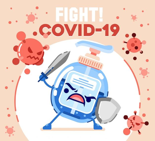 Händedesinfektionsmittel-charakter bringen schwert und schild zur abbildung des koronavirus