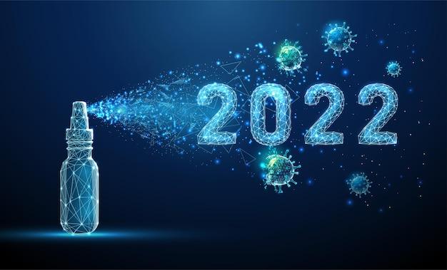 Händedesinfektionsmittel, das 2022 jahr mit virusmolekülen desinfiziert