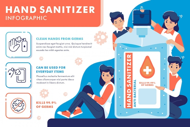 Händedesinfektionsmittel infografik flache design-illustration