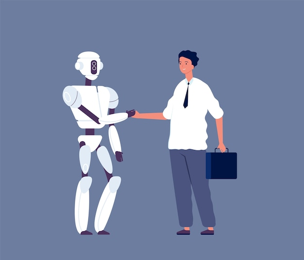 Händeschütteln des roboters. geschäftsmann, der mit futuristischem androiden charaktermensch gegen cyborgs konzeptillustration trifft. roboter cyborg kommunikation handshake