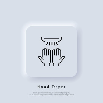 Händetrockner-symbol. dünne linie händetrockner-logo. vektor. ui-symbol. neumorphic ui ux weiße benutzeroberfläche web-schaltfläche.